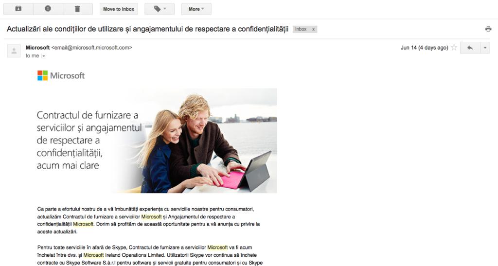 Microsoft - schimbare de termeni si conditii